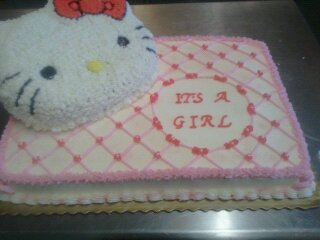 Hello Kitty Baby Shower Cake Half Sheet Cake Face Pan And 8in Round